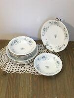 Set Of 4 Johann Haviland China BLUE GARLAND Dessert Bowl & Plate Germany Bavaria