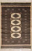 Rugstc 3x5 Bokhara Jaldar White Area Rug, Hand-Knotted,Geometric with Silk/Wool