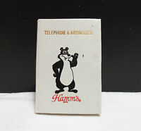 VINTAGE RARE HAMMS BEER SMALL ADDRESS BOOK BEAR WHITE COLLECTIBLE VERY NICE!!