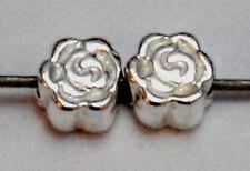 2 Argent sterling petit petit rose fleur Espaceur Perles, 4 mm