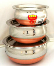 Set of 3 Copper Base St/Steel inside & Stainless ST Lid Bowls Dishes Balti Handi
