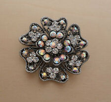 Genuine Crystal Lotus Flower Brooch, Great for Wedding, Bridal