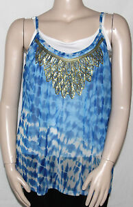 NEW INC International Concepts 1X Sleeveless Tie-Dye Embellished Top PARADISE TD