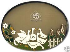 Keramikschild - Türschild - Gänse mit Blumen
