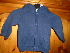Blue cosy chunky knit cardigan with hood and faux fur lining, MATALAN 3-6 months