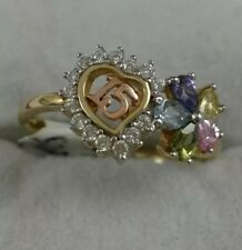 14k Yellow Gold CZ 15th Birthday Ring Size 7