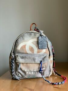 CHANEL Graffiti Painted Canvas Grey Medium Backpack
