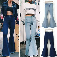 Women Tight Jeans High Waist Flared Pants Leggings Trousers Casual Bell Bottoms