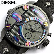 New Diesel DZ7270 Little Daddy Rainbow Dial Black Leather Watch With Diesel Box!