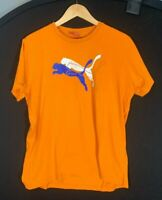 Vintage PUMA Big Logo T Shirt Tee Orange | L Large (fits medium)