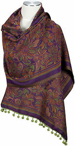 Schal mit Bommeln Violett Orange Wolle, wool scarf stole écharpe foulard Pom Pom