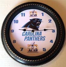 "CUSTOM MADE NFL CAROLINA PANTHERS ""SUPER BOWL 50"" 12"" WALL CLOCK - NEW IN BOX"