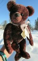 "VINTAGE MOHAIR TEDDY BEAR 14"" TRI PURPLE OOAK ARTIST NANCY DANE BENTLEY &BUDDIES"