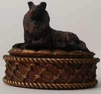 Vintage Rough Collie Trinket Jewelry Box, Four Leaf Clovers, Collectible