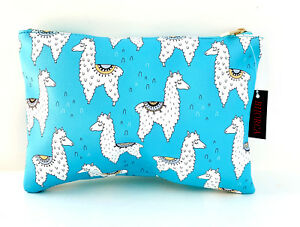 Blue and White Llama Print Makeup Accessory Bag