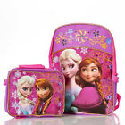 "Disney Frozen Elsa Anna Swirls Girls 16"" Large Backpack with Attached Lunch Bag"