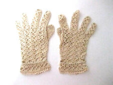 Vintage, Tan, Lace, Hand, Gloves, Size Small, Crocheted, Mint, Ct