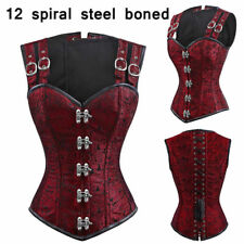Women's Black Punk Costume Corset Bustier Waist Training Cincher Dresses Shaper