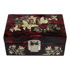 Mother of Pearl Butterfly Wood Red Small Mini Treasure Jewelry Trinket Box Chest