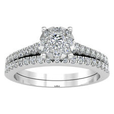 1.86 ct Round Cut Diamond 14k White Gold Finish Engagement Bands Bridal Ring Set