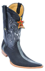 Los Altos Mens Black 6X Toe Stingray Rowstone Exotic Boots 961105 Size 9M