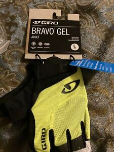 New Giro Bravo Half Finger Gel YELLOW Cycling Gloves Size L
