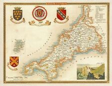 Vintage Style Map of Cornwall County 1850 Thomas Moule Art Poster Print A3 A4