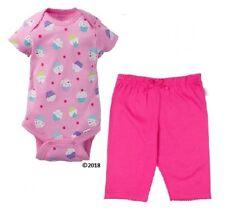 Gerber Baby Girl 2-Piece Pink Cupcake Onesie & Pants Set Size 3-6M