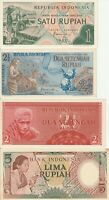 Group Lot 4 Different UNC Banknotes Indonesia 1954 1958 1960 Pick 55 73 76 77