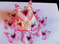 24 Small PRECUT Edible Pink Butterfly wafer/rice paper cake/cupcake toppers(a)