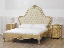 Letto matrimoniale Bonita stile Barocco Francese foglia oro e foglia argento eco