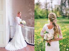 Modest Mermaid Wedding Dress Sweep Train Half Sleeve Autumn Bridal Gowns Custom