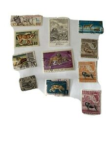 Postage stamps used Wild cats 10 stamps
