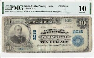 "$10 1902 PB National SPRING CITY Pennsylvania PA Extremely Rare ""8 Known"" PMG 10"