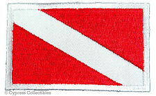 DIVER DOWN FLAG EMBROIDERED SCUBA PATCH - WHITE BORDER - IRON-ON DIVE APPLIQUE