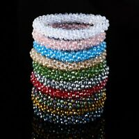 Transparent Crystal Beaded Elastic Bracelet Bangle Jewelry Women Wedding Gift
