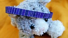 Cat Handmade Fabric Collar - Snazzy Purple & Glittery Silver Vertical Bands