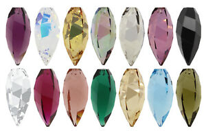 Genuine SWAROVSKI 6540 Crystal Twisted Drop Pendants – Many Colors & Sizes