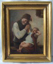 Gemälde  Alter Mann mit einem Kind auf den Knien 19 Jh.