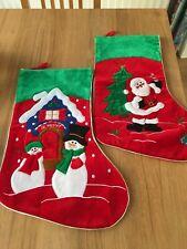2 Christmas Stocking Santa Snowman Velvety