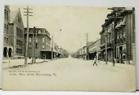 Bloomsburg Pa Main Street 1909 Springport Mich to Charlotte Mich Postcard H17