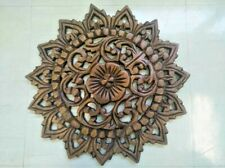 "Vintage Carved Wood Wall Decor Panel Flowers Wall Art Hanging Gift 12"" Diameter"