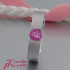 Ring - mit 1 Saphir (Safir) - pink - Spannring - 18K/750 Weißgold - massiv