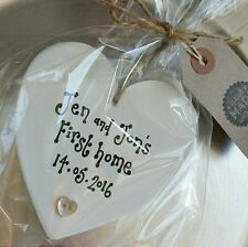 FIRST HOME HOUSEWARMING GIFT KEEPSAKE PERSONALISED HEART PLAQUE SIGN