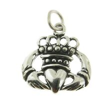 925 Sterling Silver Crowned Claddaugh Irish Love Sybmol Charm Made in USA