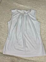 Calvin Klein NEW Womens 6P Petite White Sleeveless Pleated Blouse Top Shirt NWT