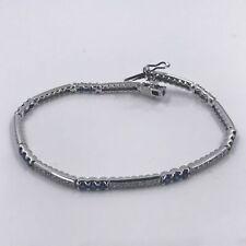 Diamond and Sapphire Tennis Bracelet in 18K White Gold
