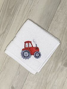 Kids Face Washer Tractor Birthday Gift Childrens Bathroom Embroidered