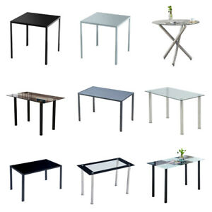 Glass Dining Table Tempered Glass Top Metal Frame Home Kitchen for Family Black