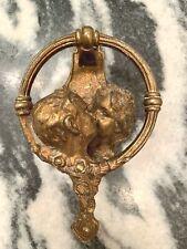 Vintage brass door knocker, kissing couple, Sasparilla